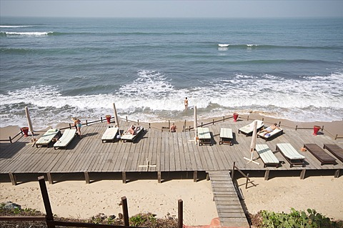 Beach at Ngala Lodge, situated between the resorts of Bakau and Fajara, near Banjul, Gambia, West Africa, Africa