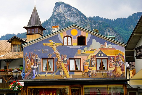 The famous painted houses of Oberammergau, Bavaria, Germany, Europe
