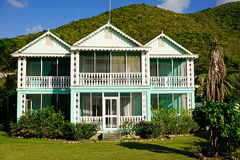 Gingerbread Cottages, Oualie Beach Hotel, Nevis, St. Kitts and Nevis, Leeward Islands, West Indies, Caribbean, Central America