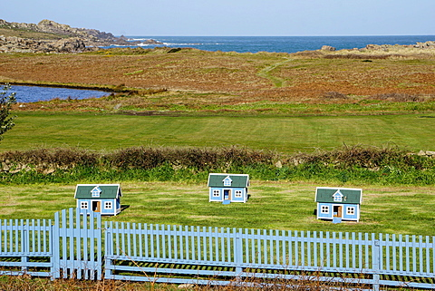 Chicken houses at Hell Bay Hotel, Bryher, Isles of Scilly, England, United Kingdom, Europe - 641-13379