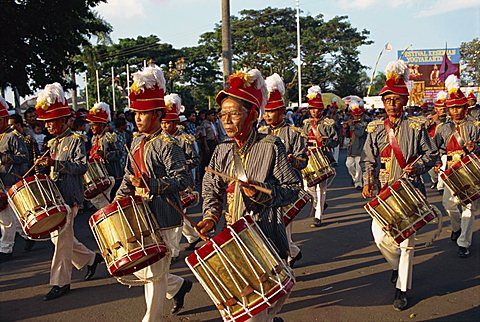 Marching bands on Sultan's birthday, Jogjakarta, Java, Indonesia, Southeast Asia, Asia