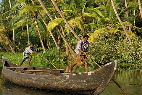 Typical backwater scene, Kerala state, India, Asia