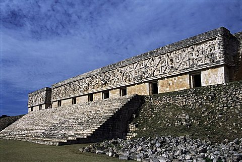 Governor's Palace, Mayan site, Uxmal, UNESCO World Heritage Site, Yucatan, Mexico, North America