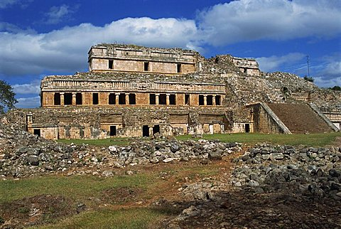 The Palace, Puuc Mayan site of Sayil near Uxmal, Sayil, Yucatan, Mexico, North America
