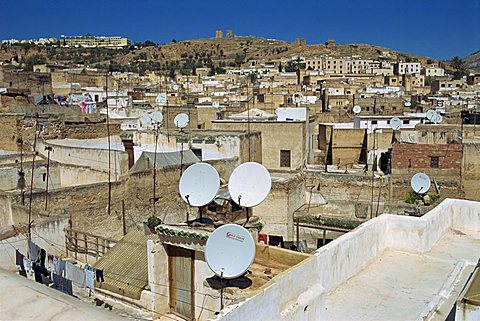 Satellite dishes in the old city or medina, Fez, Morocco, North Africa, Africa