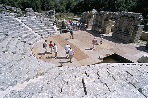 Roman archaeological site, amphitheatre stage dating from 2nd century AD, and terraced seating from 3rd century AD, Butrinti, Albania, Europe