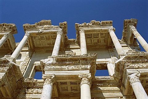 Reconstructed Library of Celsus, archaeological site, Ephesus, Anatolia, Turkey, Asia Minor - 641-5090
