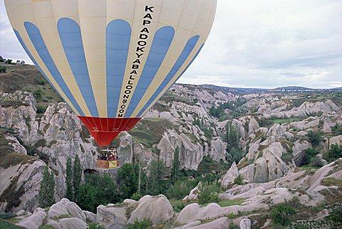 Hot air balloon flight over Cappadocia, Anatolia, Turkey, Asia Minor, Asia