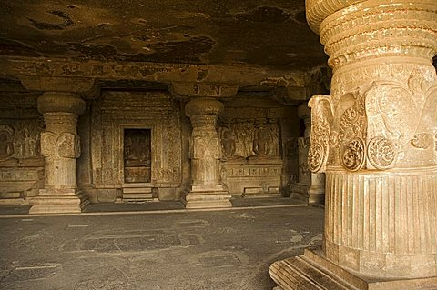 The Ellora Caves, temples cut into solid rock, UNESCO World Heritage Site, near Aurangabad, Maharashtra, India, Asia