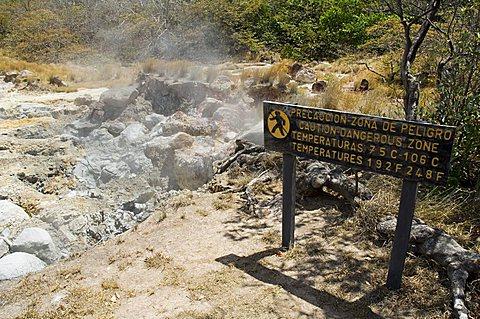 Steaming volcanic mud pools, Rincon de la Vieja National Park, at foot of Rincon Volcano, Guanacaste, Costa Rica, Central America