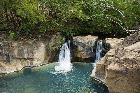 Waterfall on the Colorado River, Hacienda Guachipelin, near Rincon de la Vieja National Park, Guanacaste, Costa Rica, Central America