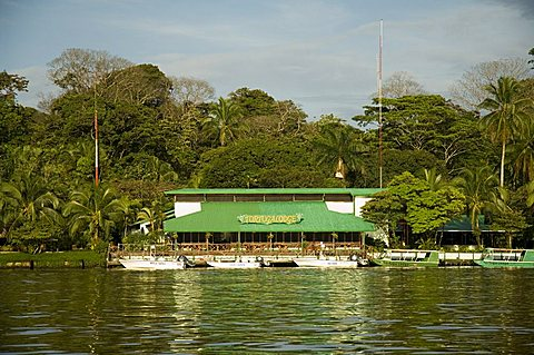 Eco Lodges on the canal at Tortuguero, Tortuguero National Park, Caribbean Coast, Costa Rica, Central America