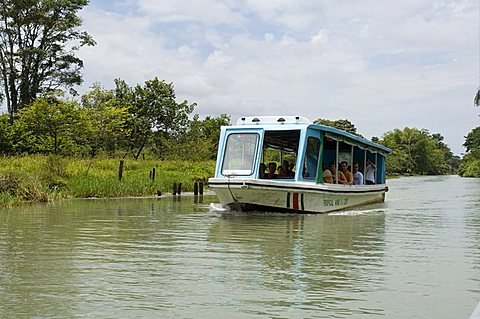 Tourist transport to the eco lodges in Tortuguero National Park, Costa Rica, Central America