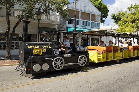 Tourist train, Duval Street, Key West, Florida, United States of America, North America