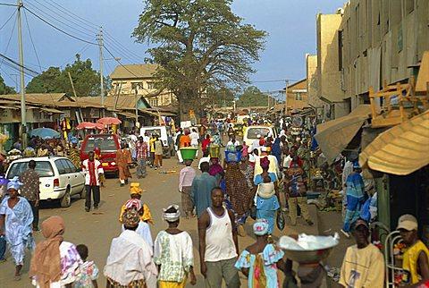 Street scene near Banjul, Gambia, West Africa, Africa