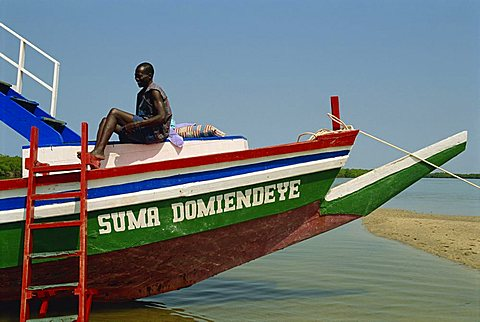 Tourist boat on backwaters near Banjul, Gambia, West Africa, Africa