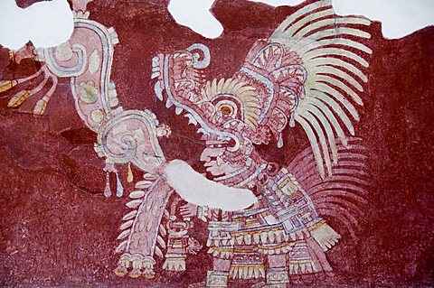 Murals at Teotihuacan, site dating from 150AD to 600AD and later used by the Aztecs, UNESCO World Heritage Site, north of Mexico City, Mexico, North America
