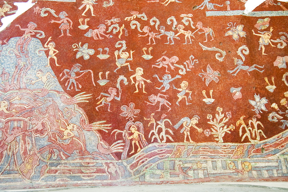 Murals, Teotihuacan, 150AD to 600AD and later used by the Aztecs, UNESCO World Heritage Site, north of Mexico City, Mexico, North America - 641-7137