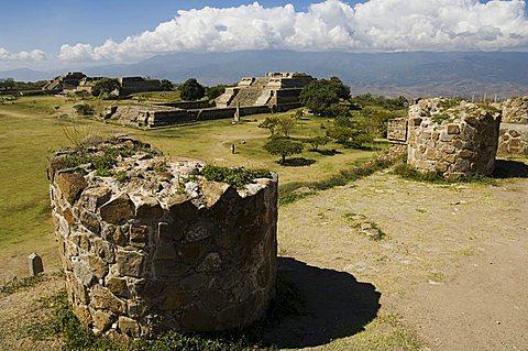 Looking southwest across the ancient Zapotec city of Monte Alban, UNESCO World Heritage Site, near Oaxaca City, Oaxaca, Mexico, North America