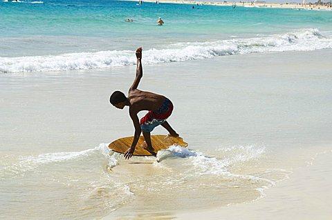 Beach surfing at Santa Maria on the island of Sal (Salt), Cape Verde Islands, Africa - 641-7479
