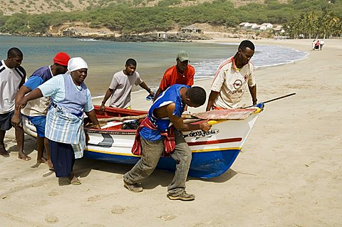 Fishing boats, Tarrafal, Santiago, Cape Verde Islands, Africa
