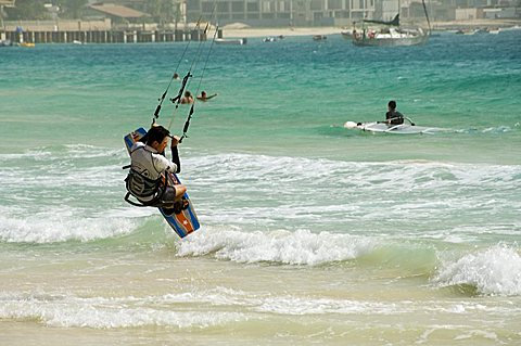 Kite surfing at Santa Maria on the island of Sal (Salt), Cape Verde Islands, Atlantic Ocean, Africa