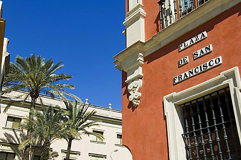 Main shopping district, Plaza de San Francisco, near Sierpes Street, Seville, Andalusia, Spain
