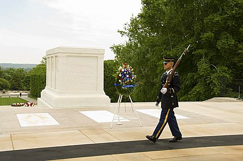 Guard at the Tomb of the Unknown Soldier, Arlington National Cemetery, Arlington, Virginia, United States of America, North America
