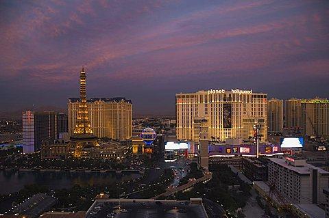 Paris Hotel and others on the Strip (Las Vegas Boulevard) near Flamingo, Las Vegas, Nevada, United States of America, North America