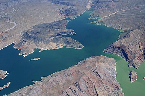 Aerial view of Lake Mead with surrounding arid landscape in Nevada, United States of America, North America