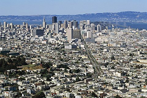 City skyline viewed from Twin Peaks, San Francisco, California, United States of America (U.S.A.), North America