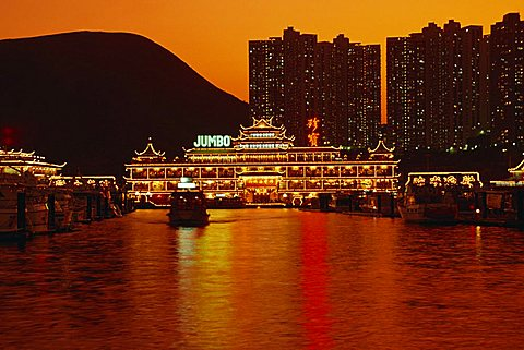 Floating restaurants at Aberdeen, Hong Kong, China, Asia