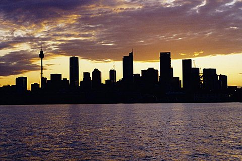 City skyline in the evening