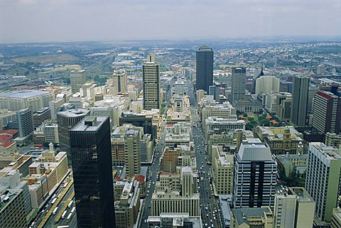 Aerial view of Johannesburg city centre