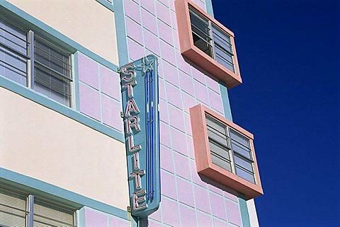 Neon sign of the Starlite Hotel, Ocean Drive, Art Deco District, Miami Beach, South Beach, Miami, Florida, United States of America, North America - 645-4