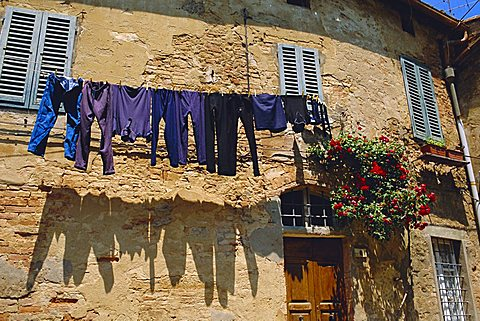 Volterra, Tuscany, Italy. Washing hanging on a line