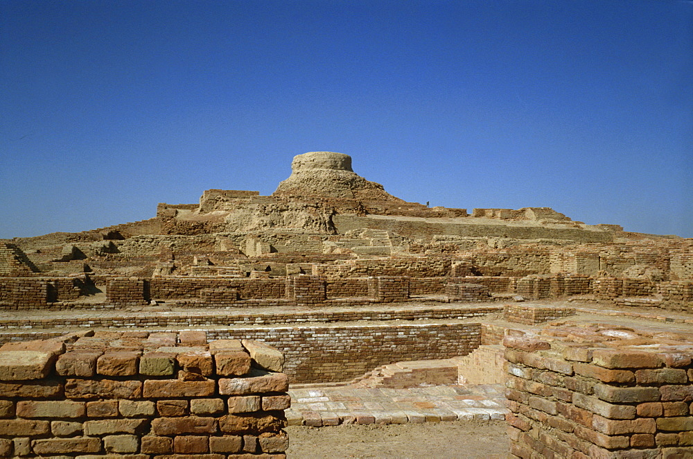 The remains of a Buddhist stupa in the ruins of the archaeological site of Taxila, UNESCO World Heritage Site, Pakistan, Asia