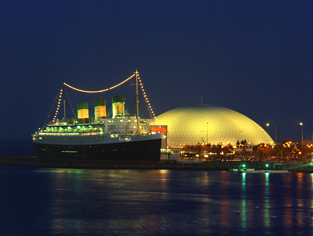 Queen Mary and Spruce Goose Dome, Long Beach, California, United States of America, North America - 657-355