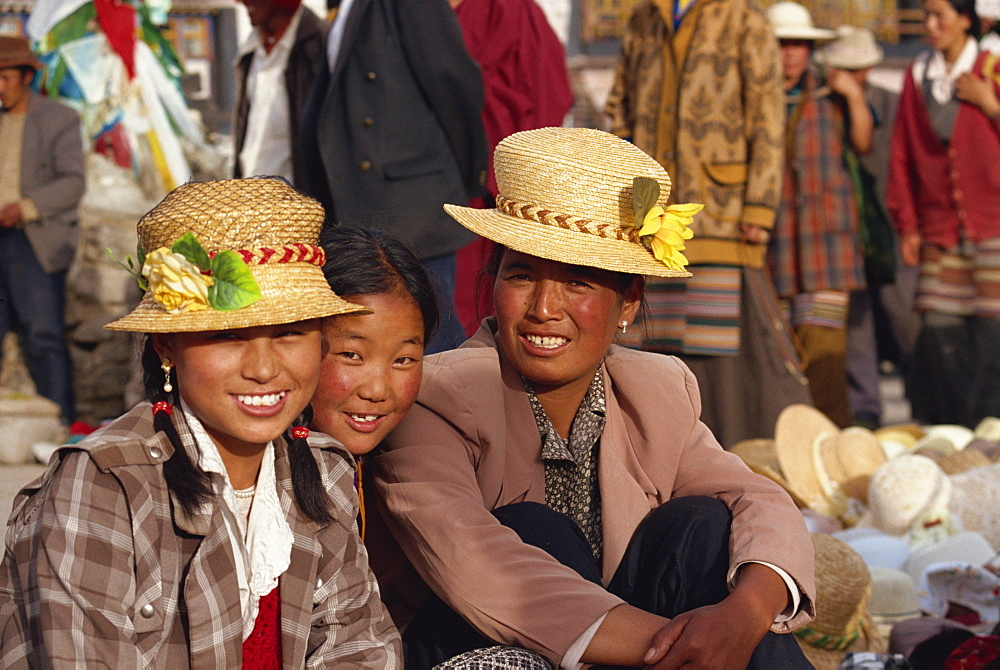 Locals in the Barkhor, Lhasa, Tibet, China, Asia - 657-607