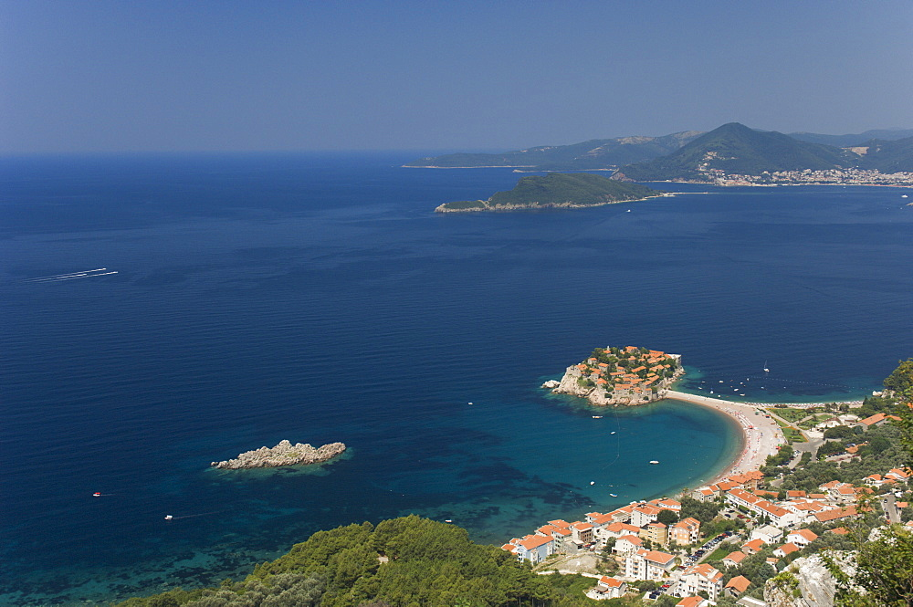Sveti Stefan and Adriatic coastline, Montenegro, Europe