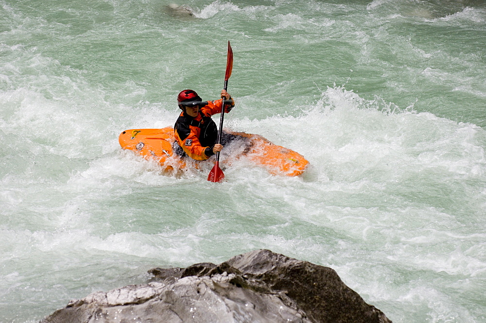Kayaking in the Soca Valley, Slovenia, Europe