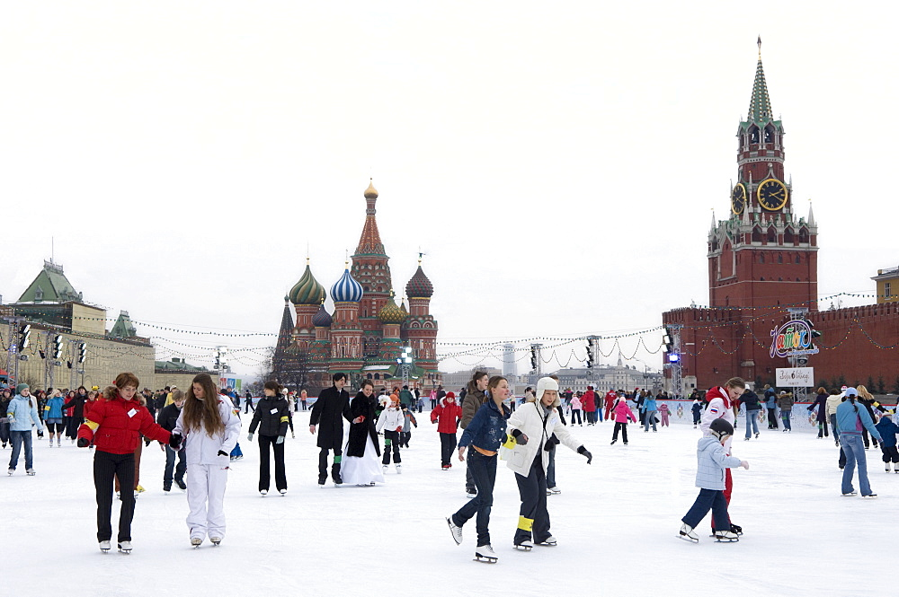 Ice skating in Red Square, UNESCO World Heritage Site, Moscow, Russia, Europe