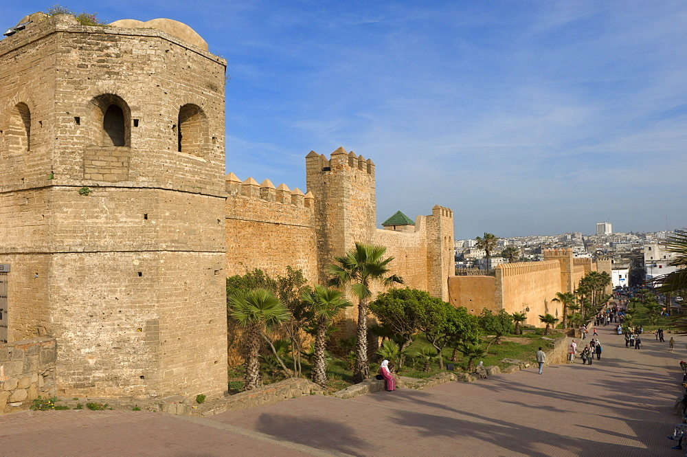 City walls of the Oudaia Kasbah, Rabat, Morocco, North Africa, Africa