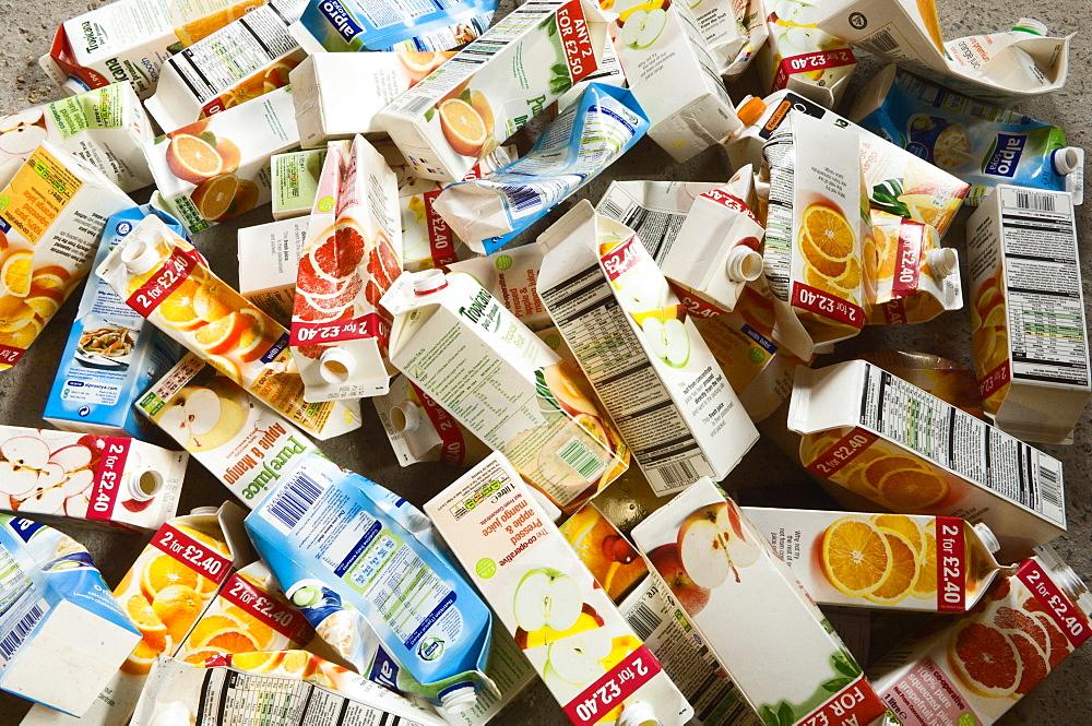 Juice cartons await recycling, Powys, Wales, United Kingdom, Europe - 663-795