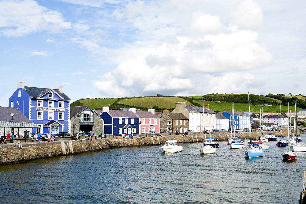 A view of the harbour at Aberaeron, Ceredigion, Wales, United Kingdom, Europe - 663-805
