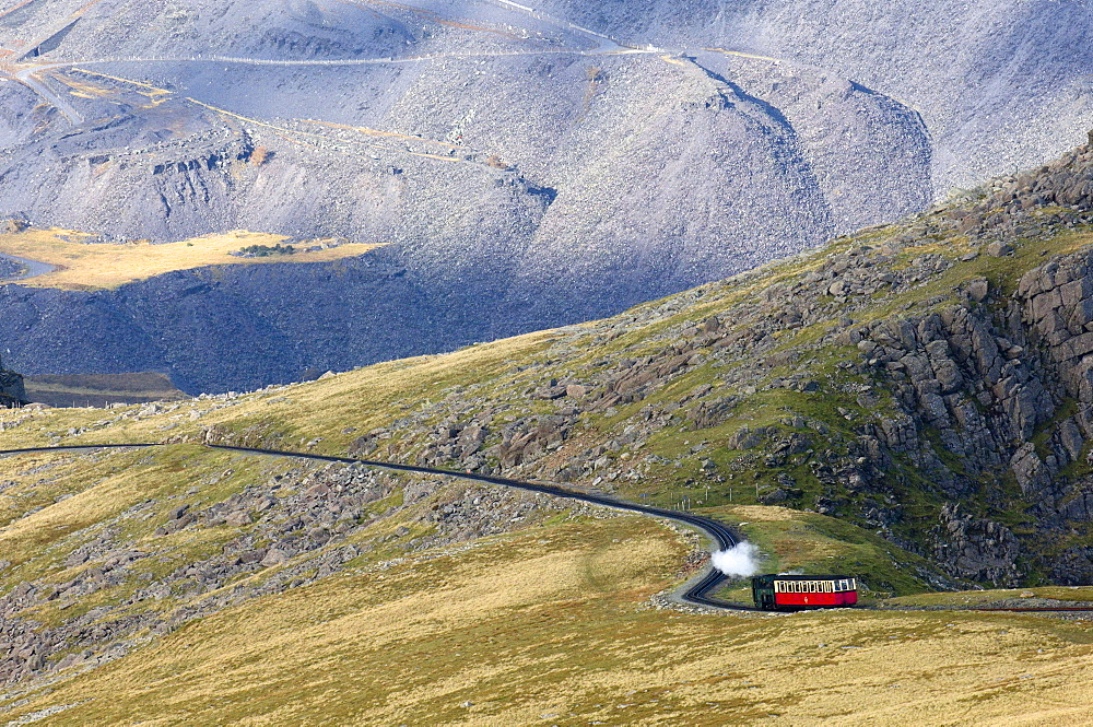 Steam train on route between Llanberis and the summit of Mount Snowdon in Snowdonia National Park, Gwynedd, Wales, United Kingdom, Europe - 663-822