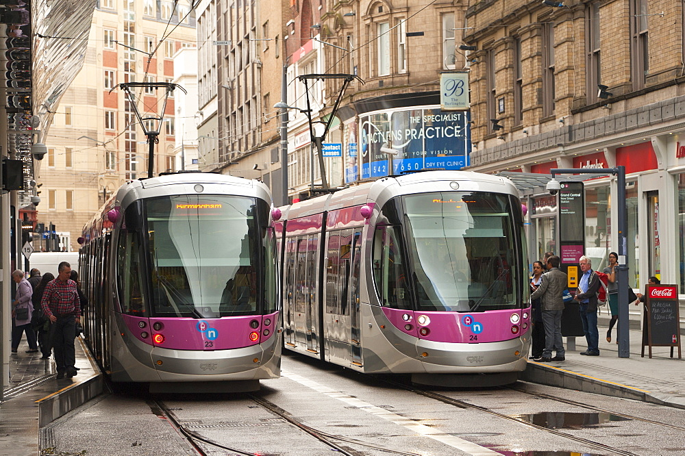 Tram system in Birmingham which runs from Birmingham to Wolverhampton, Birmingham, England, United Kingdom, Europe - 663-870