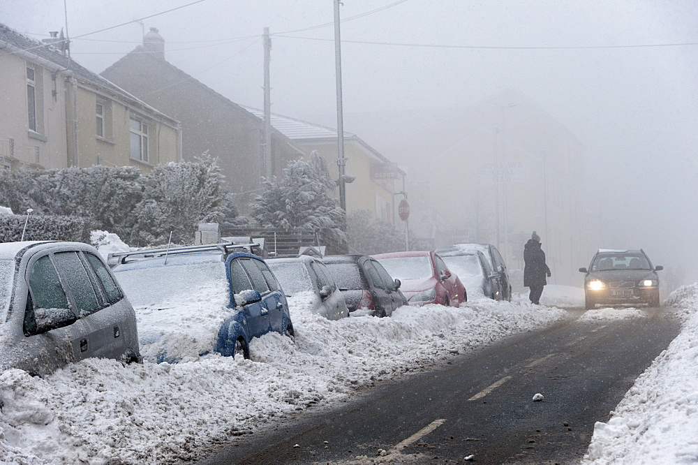A blizzard hits the town of Brynmawr in Blaenau Gwent, Wales, United Kingdom, Europe