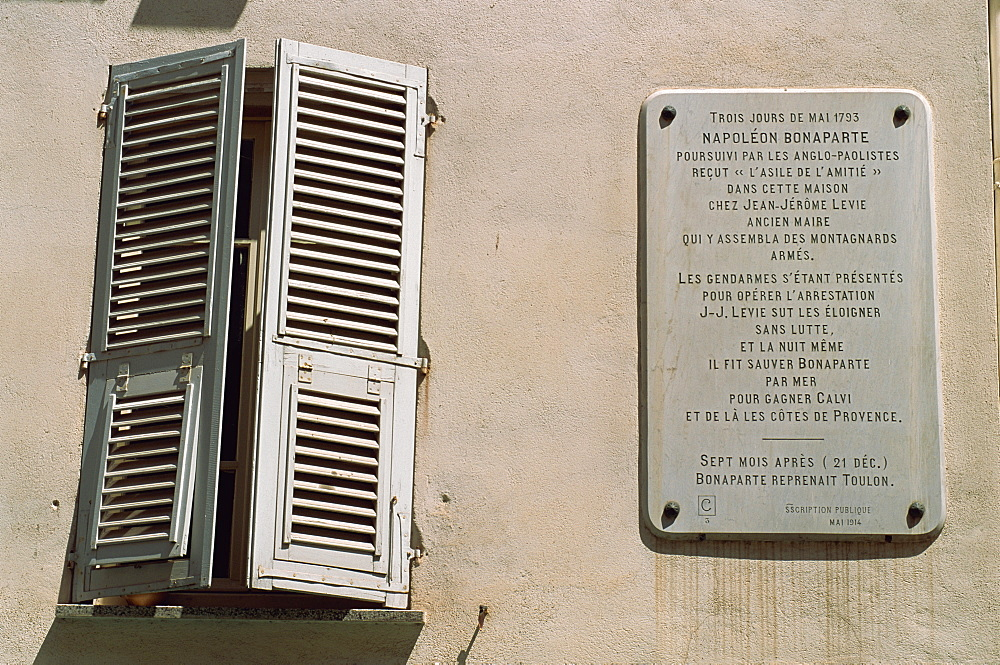 Sign informing that Napoleon shltered here, Ajaccio, Corsica, France, Europe