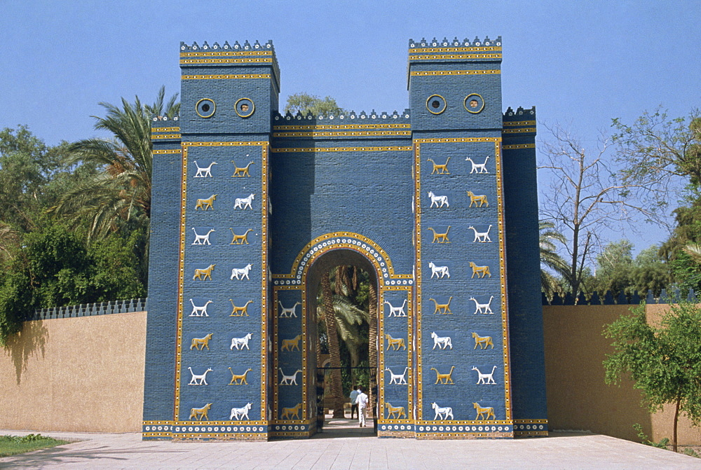 Reconstruction of the Ishtar Gate, entrance to archaeological site, Babylon, Mesopotamia, Iraq, Middle East